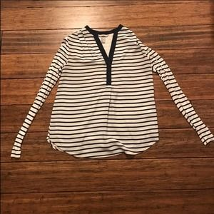 H&M Striped Top Navy and White V-neck Blouse